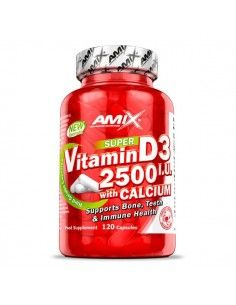 Vitamina D3 2500 IU + Calcio - 120 caps - Amix