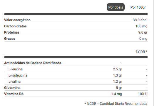 bcaa glutamine 454 gr información