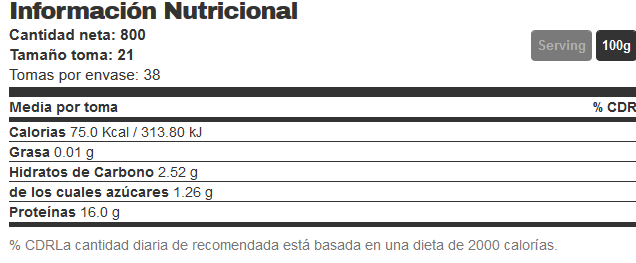 clara de huevo 800 gr info