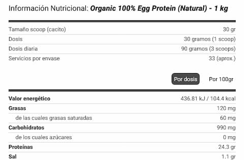 Egg Protein 1kg 100% Organic - Ovowhite