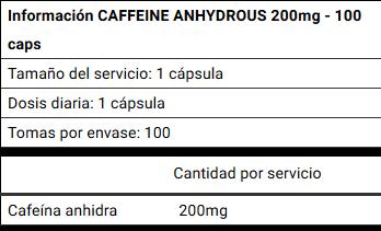 cafeina 100 capsulas info