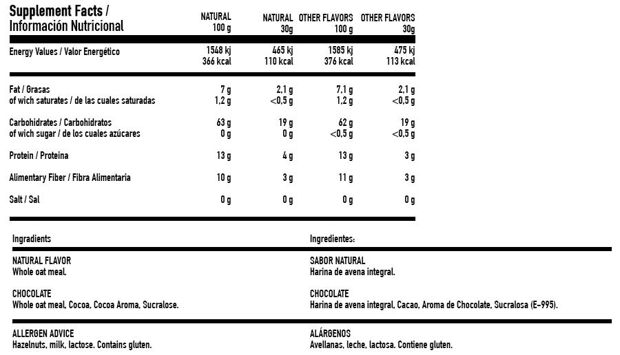 Harina de Avena Integral Instant Oatmeal - 1,9kg info