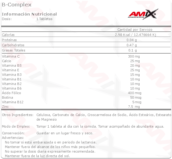 B Complex 90 caps Amix info
