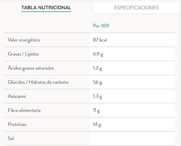 Copos de Avena Suaves Bio sin Gluten 500 Gr info