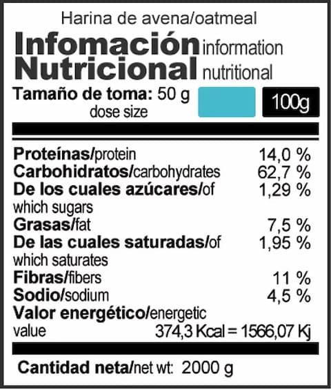 Harina de Avena Integral 2k - X-up Nutrition