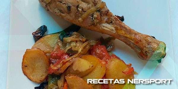 Pavo al horno con verduras y patatas